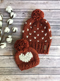 Adult Fair Isle Hearts Knit Pom Pom Hat Slouchy Beanie with Yarn Pom