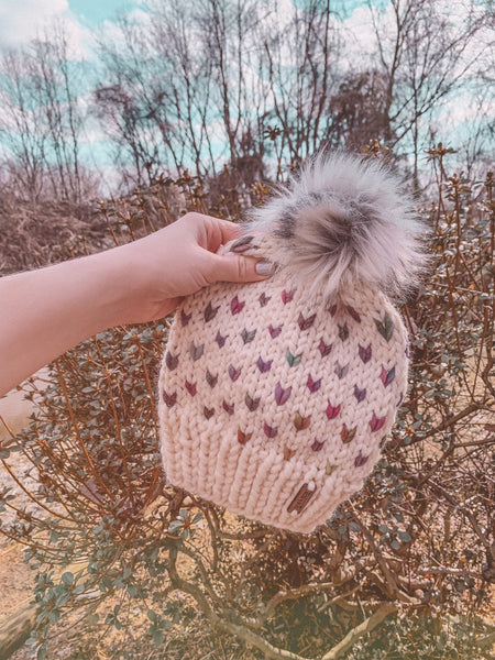 Adult Knitted Fair Isle Rainbow Hearts Beanie with Faux Fur Pom Pom