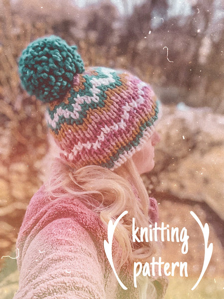 Knitting Pattern Adult Fair Isle Double Brim Beanie // The Katahdin