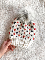 PATRIOTS Adult Knit Beanie Hat Fair Isle with Faux Fur Pom Pom