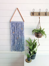 Indigo Blue Copper Triangle Yarn Wall Hanging