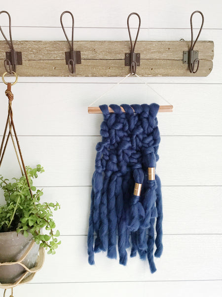MINI Indigo Knit Wall Hanging with Copper Detail