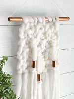 Ivory Knit Wall Hanging with Copper Detail // Regular Size