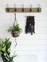 Mini Charcoal Grey Knit Wall Hanging with Copper Detail