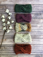 Knitted Adult Headband Twist Bun Hat Turban