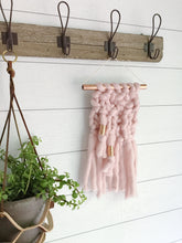 Mini Blush Pink Knit Wall Hanging with Copper Detail