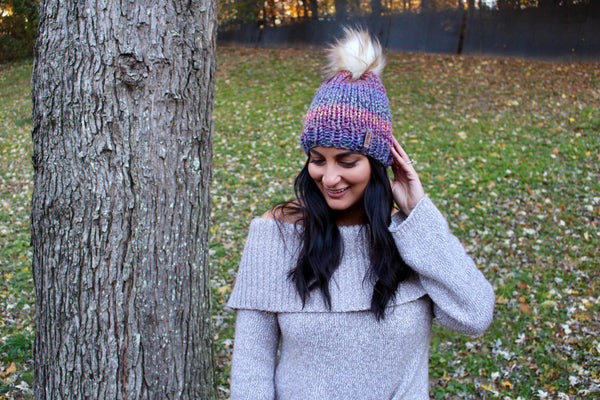 Adult Knitted Beanie with Faux Fur Pom Pom // The Kennebec
