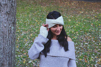 Headband + Gloves SET Knitted Adult Twisted Headband and Fingerless Gloves