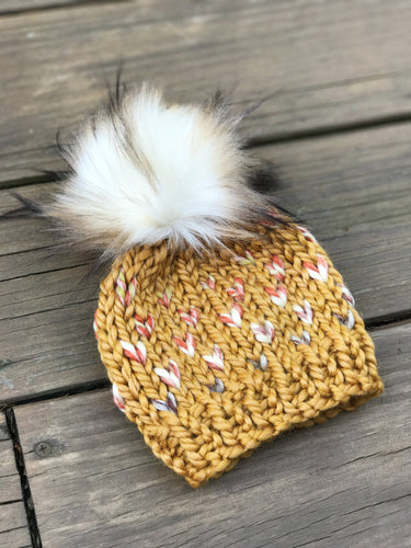 Mommy and Me Hats Knit Baby and Adult Beanie Handmade Faux Fur Pom Pom // Coney Island Fair Isle