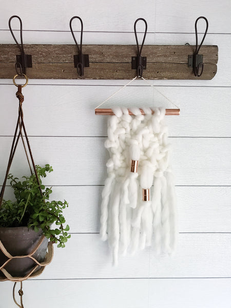 MINI Ivory Knit Wall Hanging with Copper Detail