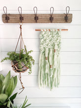 Mint Green Knit Wall Hanging with Copper Detail