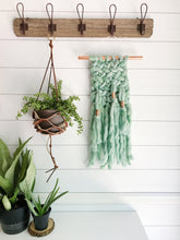 Jade Green Knit Wall Hanging with Copper Detail