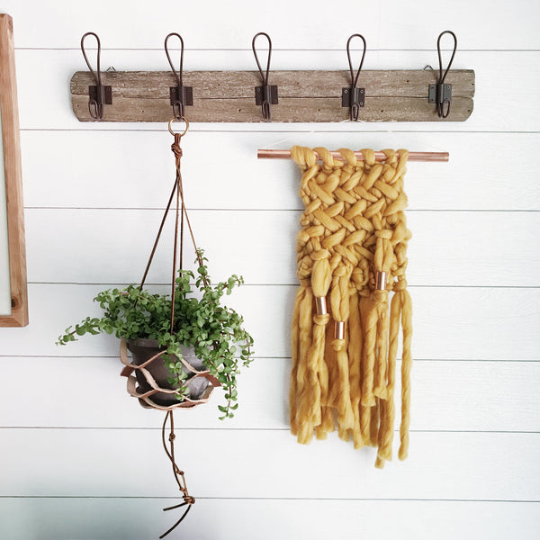 Mustard Wall Hanging Knit with Copper Detail // Regular Size