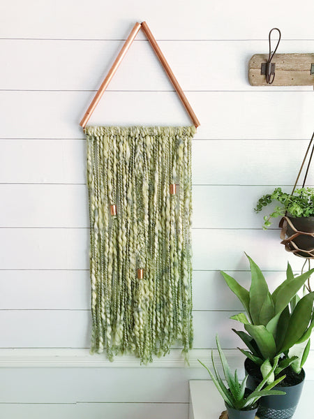 Palm Leaf Green Copper Triangle Yarn Wall Hanging