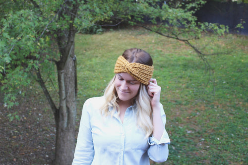 Knitted Adult Twisted Headband Messy Bun Hat Turban