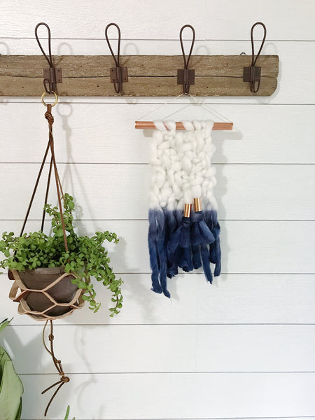 Mini Indigo Blue Dip Dye Ombré Knit Wall Hanging with Copper Detail