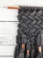 Charcoal Grey Knit Wall Hanging with Copper Detail