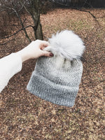 Ombre Adult Knitted Double Brim Beanie with Faux Fur Pom Pom