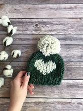 Big Heart Knit Baby Hat Beanie Handmade Yarn Pom Pom