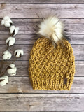 Adult Knitted Textured Faux Fur Pom Pom Hat Slouch Beanie // The Westbrook