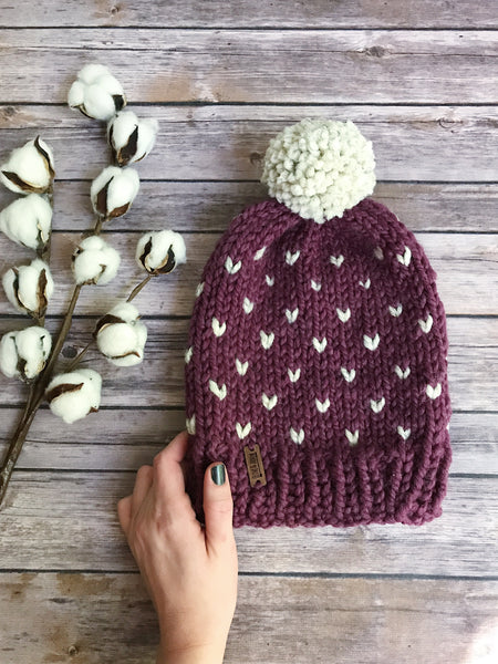 ece76c3fd Mommy and Me Hats Knit Fair Isle Baby and Adult Beanie Yarn Pom Pom //  Hearts