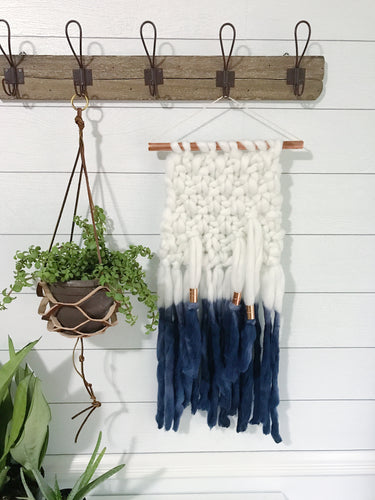 Indigo Blue Dip Dye Ombré Knit Wall Hanging with Copper Detail