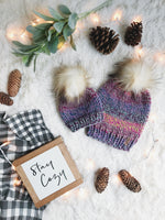 Mommy and Me SET Knitted Textured Beanie with Faux Fur Pom Pom // The Kennebec