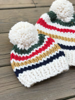 Mommy and Me Hats Knit Baby and Adult Beanie Handmade YARN Pom Pom // Hudson Bay Stripes