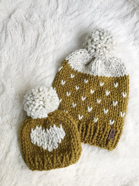Adult Fair Isle Hearts Knit Pom Pom Hat Slouchy Beanie with Yarn Pom // SNAPDRAGON