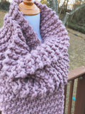 Mauve Knitted Scarf Extra Large Open Ended Wrap // The Wiscassett