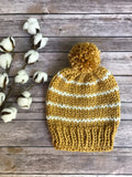 Adult Knit Pom Pom Hat Slouchy Beanie with Yarn Pom // STRIPES