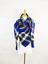 BLUE PLAID Blanket Scarf Handmade Tartan Shawl Wrap Warmer