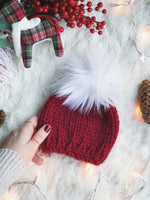 LIMITED EDITION Holiday Baby Beanie w/ Faux Fur Pom