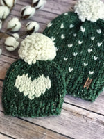 Mommy and Me Hats Knit Fair Isle Baby and Adult Beanie Yarn Pom Pom // Hearts