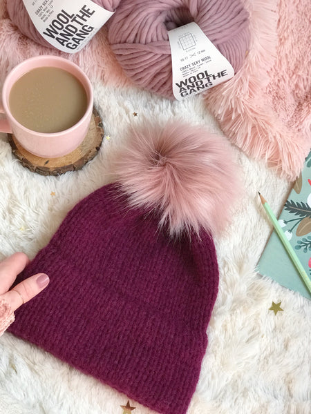 Margaux Adult Knitted Double Brim Beanie with Pink Moscato Faux Fur Pom Pom
