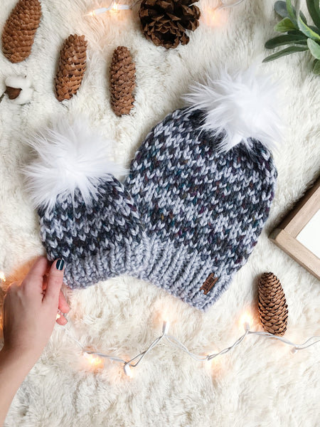 006cb961676 ... Baby Knitted Fair Isle Beanie with Faux Fur Pom Pom    The Lil Hallowell