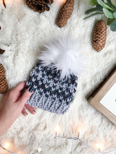 dd9e6902adc Baby Knitted Fair Isle Beanie with Faux Fur Pom Pom    The Lil Hallowell