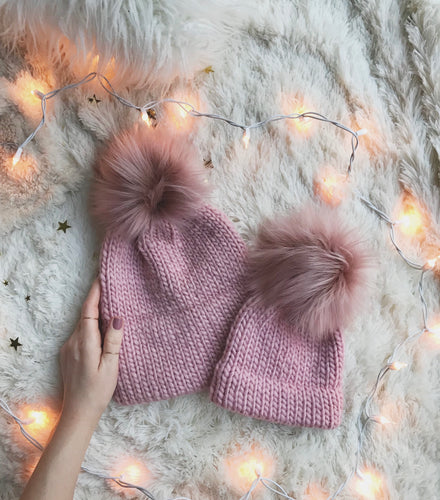 Rosé Mommy and Me Hats Double Brim Beanies with Pink Moscato Faux Fur Pom Pom