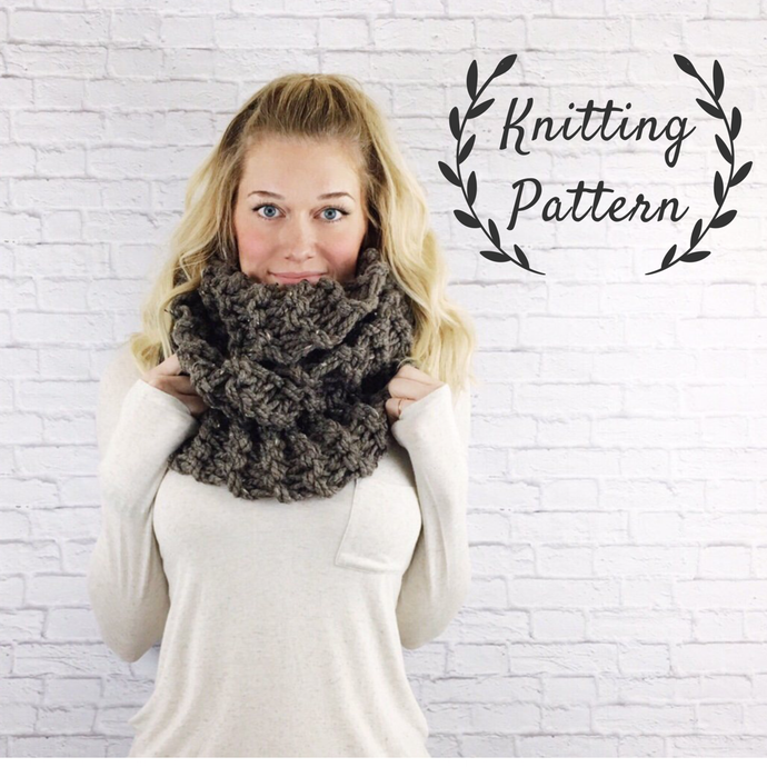 Knitting Pattern Chunky Cowl Knit Infinity Scarf Loop Snood // Claire's Cowl