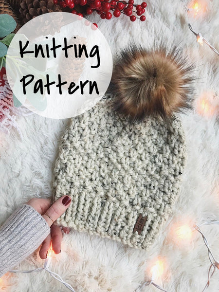 Knitting Pattern Adult Knit Hat Textured Beanie // The Westbrook