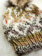 Knit Adult Hat Fair Isle Beanie Faux Fur Pom Pom // Fair Isle Diamonds