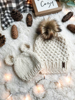 Mommy and Me SET Knitted Textured Beanie with Faux Fur Pom Pom // The Westbrook and Baby Bear Hat
