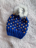 RAMS Adult Knit Beanie Hat Fair Isle with Faux Fur Pom Pom