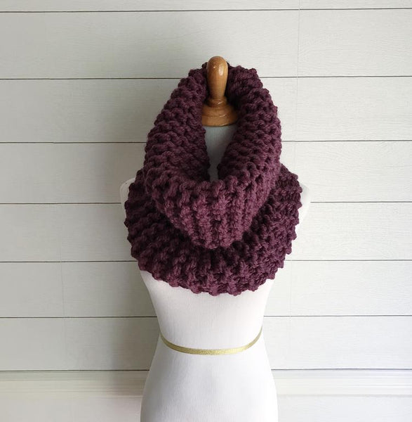 Knitting Pattern Chunky Cowl Knit Scarf Infinity Loop The