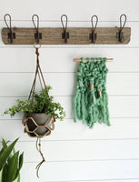 Mini Palm Leaf Green Knit Wall Hanging with Copper Detail