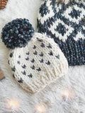 Baby Knitted Fair Isle Hearts Beanie with Yarn Pom Pom