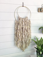 Smokey Quartz Yarn Double Ring Wall Hanging with Gold Detail