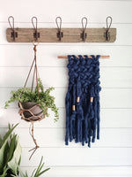 Indigo Blue Knit Wall Hanging with Copper Detail // Regular Size