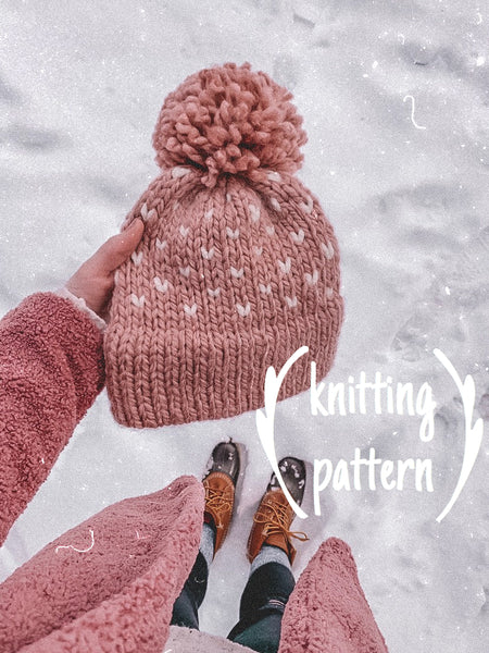 Knitting Pattern Adult Fair Isle Double Brim Beanie // Fair Isle Hearts