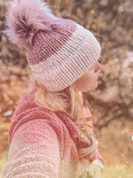 Adult Knitted Colorblock Double Brim Beanie with Faux Fur Pom Pom